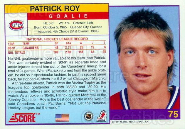 1991-92 Score USA Promos #75 Patrick Roy<br/>10 In Stock - $10.00 each - <a href=https://centericecollectibles.foxycart.com/cart?name=1991-92%20Score%20USA%20Promos%20%2375%20Patrick%20Roy...&price=$10.00&code=380092 class=foxycart> Buy it now! </a>