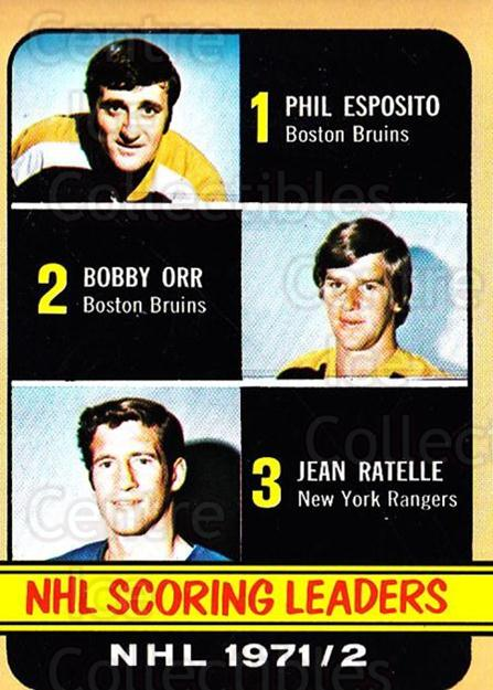 1972-73 Topps #63 Jean Ratelle, Phil Esposito, Bobby Orr<br/>1 In Stock - $15.00 each - <a href=https://centericecollectibles.foxycart.com/cart?name=1972-73%20Topps%20%2363%20Jean%20Ratelle,%20P...&price=$15.00&code=380583 class=foxycart> Buy it now! </a>
