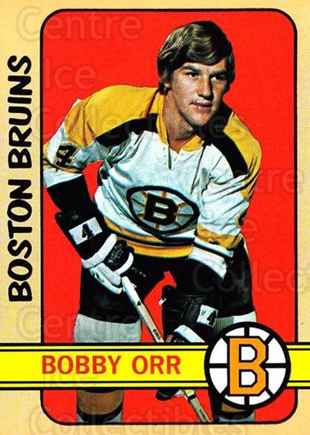 1972-73 Topps #100 Bobby Orr<br/>1 In Stock - $40.00 each - <a href=https://centericecollectibles.foxycart.com/cart?name=1972-73%20Topps%20%23100%20Bobby%20Orr...&price=$40.00&code=380620 class=foxycart> Buy it now! </a>