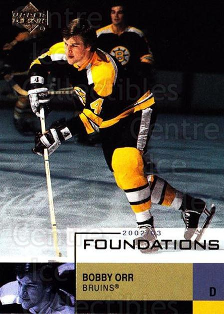 2002-03 UD Foundations #4 Bobby Orr<br/>1 In Stock - $3.00 each - <a href=https://centericecollectibles.foxycart.com/cart?name=2002-03%20UD%20Foundations%20%234%20Bobby%20Orr...&price=$3.00&code=380763 class=foxycart> Buy it now! </a>