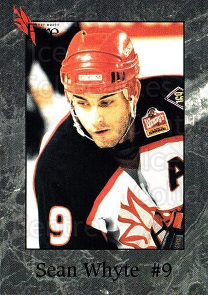 1995-96 Fort Worth Fire #16 Sean Whyte<br/>2 In Stock - $3.00 each - <a href=https://centericecollectibles.foxycart.com/cart?name=1995-96%20Fort%20Worth%20Fire%20%2316%20Sean%20Whyte...&quantity_max=2&price=$3.00&code=38110 class=foxycart> Buy it now! </a>