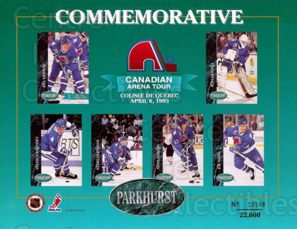 1992-93 Parkhurst Arena Tour Sheets #3 Bill Landsay, Ron Hextall, Valeri Kamensky, Kerry Huffman, Mats Sundin, Joe Sakic<br/>1 In Stock - $5.00 each - <a href=https://centericecollectibles.foxycart.com/cart?name=1992-93%20Parkhurst%20Arena%20Tour%20Sheets%20%233%20Bill%20Landsay,%20R...&price=$5.00&code=382487 class=foxycart> Buy it now! </a>