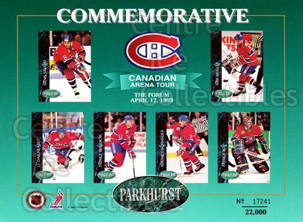 1992-93 Parkhurst Arena Tour Sheets #5 Patrick Roy, Denis Savard, Kirk Muller, JJ Daigneault, Patrice Brisebois, Mathieu Schneider<br/>67 In Stock - $10.00 each - <a href=https://centericecollectibles.foxycart.com/cart?name=1992-93%20Parkhurst%20Arena%20Tour%20Sheets%20%235%20Patrick%20Roy,%20De...&quantity_max=67&price=$10.00&code=382489 class=foxycart> Buy it now! </a>