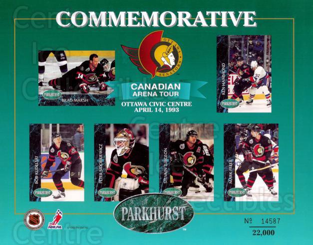 1992-93 Parkhurst Arena Tour Sheets #7 Brad Marsh, Ken Hammond, Bob Kudelski, Peter Sidorkiewicz, Sylvain Turgeon, Mark Freer<br/>2 In Stock - $10.00 each - <a href=https://centericecollectibles.foxycart.com/cart?name=1992-93%20Parkhurst%20Arena%20Tour%20Sheets%20%237%20Brad%20Marsh,%20Ken...&price=$10.00&code=382491 class=foxycart> Buy it now! </a>