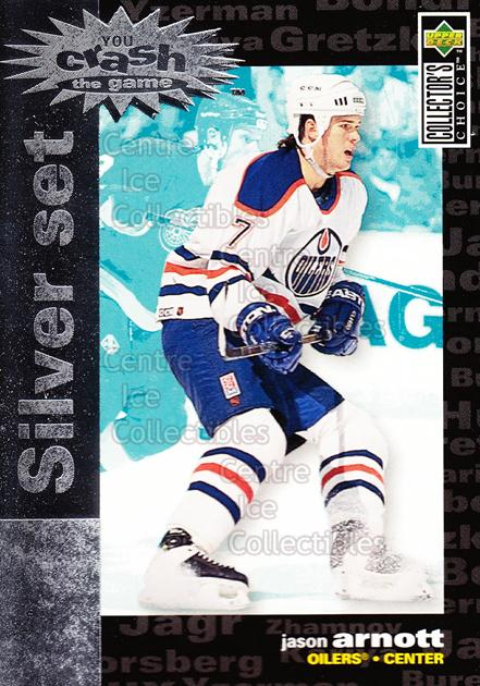 1995-96 Collectors Choice Crash the Game Silver Redeemed #19 Jason Arnott<br/>15 In Stock - $1.00 each - <a href=https://centericecollectibles.foxycart.com/cart?name=1995-96%20Collectors%20Choice%20Crash%20the%20Game%20Silver%20Redeemed%20%2319%20Jason%20Arnott...&quantity_max=15&price=$1.00&code=38257 class=foxycart> Buy it now! </a>