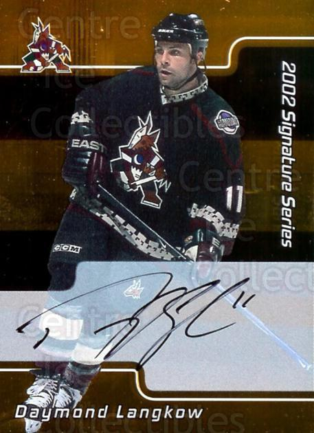2001-02 BAP Signature Series Auto Gold #142 Daymond Langkow<br/>1 In Stock - $5.00 each - <a href=https://centericecollectibles.foxycart.com/cart?name=2001-02%20BAP%20Signature%20Series%20Auto%20Gold%20%23142%20Daymond%20Langkow...&quantity_max=1&price=$5.00&code=383588 class=foxycart> Buy it now! </a>