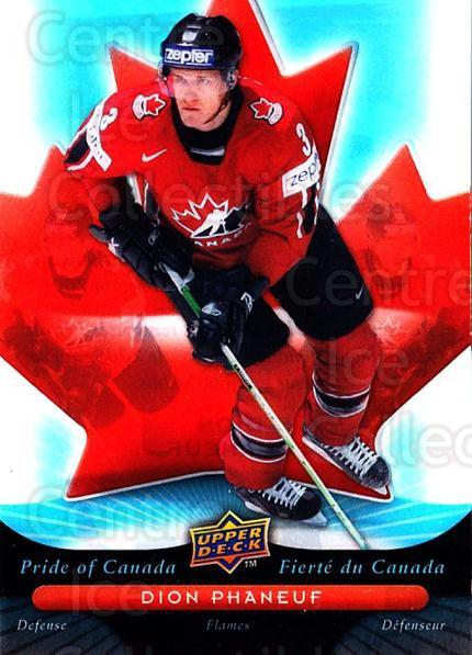 2009-10 McDonalds Upper Deck Pride of Canada #11 Dion Phaneuf<br/>1 In Stock - $10.00 each - <a href=https://centericecollectibles.foxycart.com/cart?name=2009-10%20McDonalds%20Upper%20Deck%20Pride%20of%20Canada%20%2311%20Dion%20Phaneuf...&quantity_max=1&price=$10.00&code=384070 class=foxycart> Buy it now! </a>