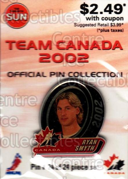 2002 Team Canada Pin Collection #24 Ryan Smyth<br/>4 In Stock - $5.00 each - <a href=https://centericecollectibles.foxycart.com/cart?name=2002%20Team%20Canada%20Pin%20Collection%20%2324%20Ryan%20Smyth...&quantity_max=4&price=$5.00&code=385840 class=foxycart> Buy it now! </a>