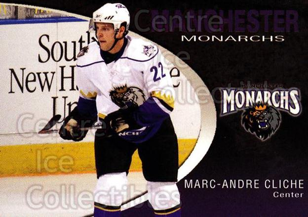 2007-08 Manchester Monarchs #2 Marc-Andre Cliche<br/>4 In Stock - $3.00 each - <a href=https://centericecollectibles.foxycart.com/cart?name=2007-08%20Manchester%20Monarchs%20%232%20Marc-Andre%20Clic...&quantity_max=4&price=$3.00&code=385842 class=foxycart> Buy it now! </a>