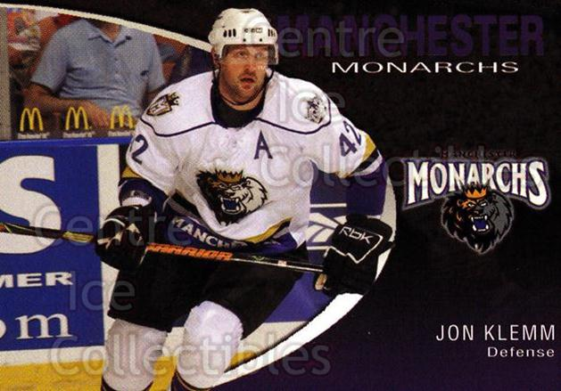 2007-08 Manchester Monarchs #12 Jon Klemm<br/>3 In Stock - $3.00 each - <a href=https://centericecollectibles.foxycart.com/cart?name=2007-08%20Manchester%20Monarchs%20%2312%20Jon%20Klemm...&quantity_max=3&price=$3.00&code=385852 class=foxycart> Buy it now! </a>