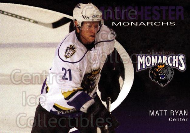 2007-08 Manchester Monarchs #20 Matt Ryan<br/>1 In Stock - $3.00 each - <a href=https://centericecollectibles.foxycart.com/cart?name=2007-08%20Manchester%20Monarchs%20%2320%20Matt%20Ryan...&quantity_max=1&price=$3.00&code=385860 class=foxycart> Buy it now! </a>