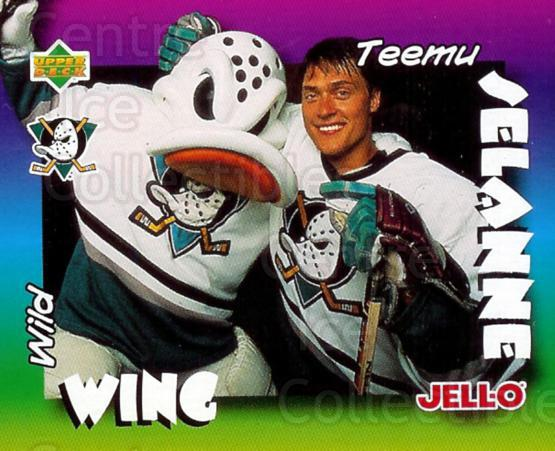 1996-97 Kraft Jell-O Mascots #4 Teemu Selanne, Mascot<br/>2 In Stock - $3.00 each - <a href=https://centericecollectibles.foxycart.com/cart?name=1996-97%20Kraft%20Jell-O%20Mascots%20%234%20Teemu%20Selanne,%20...&quantity_max=2&price=$3.00&code=389813 class=foxycart> Buy it now! </a>