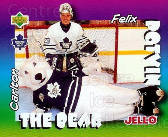 1996-97 Kraft Jell-O Mascots #5 Felix Potvin, Mascot<br/>2 In Stock - $2.00 each - <a href=https://centericecollectibles.foxycart.com/cart?name=1996-97%20Kraft%20Jell-O%20Mascots%20%235%20Felix%20Potvin,%20M...&quantity_max=2&price=$2.00&code=389814 class=foxycart> Buy it now! </a>