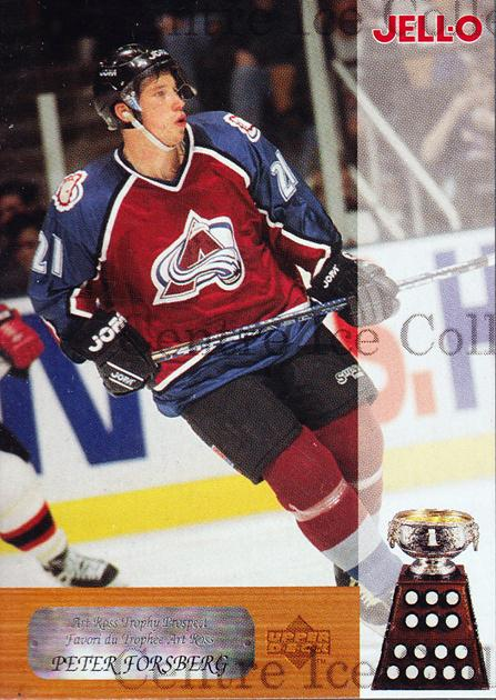 1996-97 Kraft Jell-O Award Winners #7 Peter Forsberg, Art Ross Trophy<br/>2 In Stock - $3.00 each - <a href=https://centericecollectibles.foxycart.com/cart?name=1996-97%20Kraft%20Jell-O%20Award%20Winners%20%237%20Peter%20Forsberg,...&price=$3.00&code=389829 class=foxycart> Buy it now! </a>