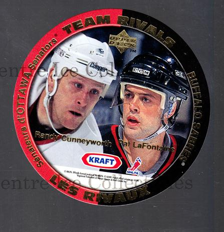 1996-97 Kraft Peanut Butter Team Rivals #5 Randy Cunneyworth, Pat LaFontaine, Ray Bourque, Adam Graves<br/>8 In Stock - $3.00 each - <a href=https://centericecollectibles.foxycart.com/cart?name=1996-97%20Kraft%20Peanut%20Butter%20Team%20Rivals%20%235%20Randy%20Cunneywor...&quantity_max=8&price=$3.00&code=389839 class=foxycart> Buy it now! </a>