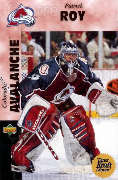 1996-97 Kraft Dinner #6 Patrick Roy<br/>1 In Stock - $3.00 each - <a href=https://centericecollectibles.foxycart.com/cart?name=1996-97%20Kraft%20Dinner%20%236%20Patrick%20Roy...&price=$3.00&code=389847 class=foxycart> Buy it now! </a>