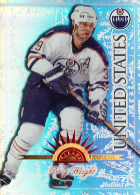 1997-98 Leaf International Universal Ice #131 Doug Weight<br/>3 In Stock - $5.00 each - <a href=https://centericecollectibles.foxycart.com/cart?name=1997-98%20Leaf%20International%20Universal%20Ice%20%23131%20Doug%20Weight...&quantity_max=3&price=$5.00&code=392555 class=foxycart> Buy it now! </a>