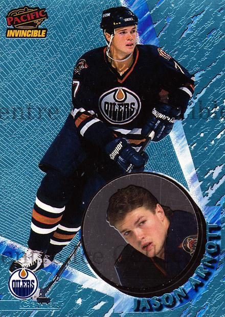 1997-98 Invincible Ice Blue #54 Jason Arnott<br/>1 In Stock - $5.00 each - <a href=https://centericecollectibles.foxycart.com/cart?name=1997-98%20Invincible%20Ice%20Blue%20%2354%20Jason%20Arnott...&quantity_max=1&price=$5.00&code=393581 class=foxycart> Buy it now! </a>