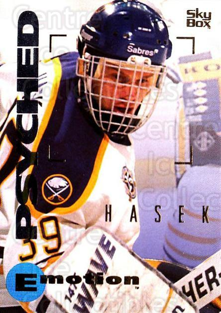 1995-96 Emotion #16 Dominik Hasek<br/>2 In Stock - $1.00 each - <a href=https://centericecollectibles.foxycart.com/cart?name=1995-96%20Emotion%20%2316%20Dominik%20Hasek...&quantity_max=2&price=$1.00&code=39456 class=foxycart> Buy it now! </a>