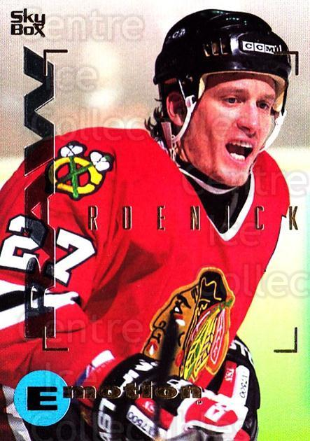 1995-96 Emotion #33 Jeremy Roenick<br/>4 In Stock - $1.00 each - <a href=https://centericecollectibles.foxycart.com/cart?name=1995-96%20Emotion%20%2333%20Jeremy%20Roenick...&quantity_max=4&price=$1.00&code=39515 class=foxycart> Buy it now! </a>