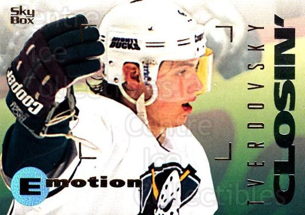 1995-96 Emotion #4 Oleg Tverdovsky<br/>5 In Stock - $1.00 each - <a href=https://centericecollectibles.foxycart.com/cart?name=1995-96%20Emotion%20%234%20Oleg%20Tverdovsky...&quantity_max=5&price=$1.00&code=39520 class=foxycart> Buy it now! </a>