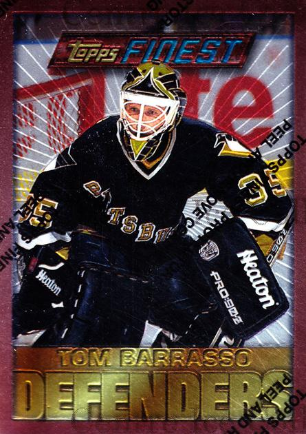 1995-96 Finest #129 Tom Barrasso<br/>5 In Stock - $1.00 each - <a href=https://centericecollectibles.foxycart.com/cart?name=1995-96%20Finest%20%23129%20Tom%20Barrasso...&price=$1.00&code=39631 class=foxycart> Buy it now! </a>