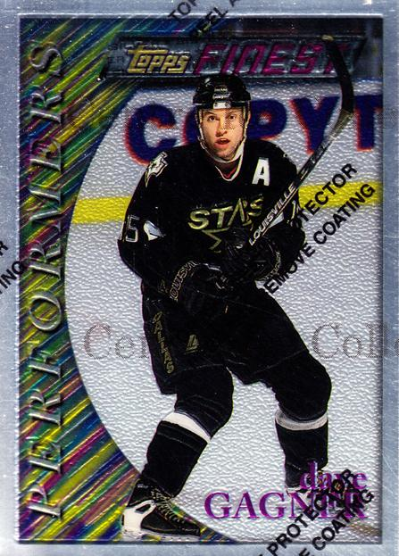 1995-96 Finest #31 Dave Gagner<br/>12 In Stock - $2.00 each - <a href=https://centericecollectibles.foxycart.com/cart?name=1995-96%20Finest%20%2331%20Dave%20Gagner...&quantity_max=12&price=$2.00&code=39707 class=foxycart> Buy it now! </a>
