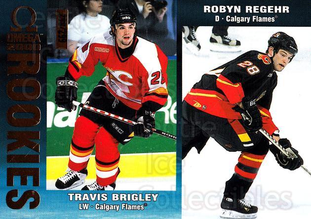 1999-00 Omega Gold #42 Travis Brigley, Richie Regehr<br/>1 In Stock - $3.00 each - <a href=https://centericecollectibles.foxycart.com/cart?name=1999-00%20Omega%20Gold%20%2342%20Travis%20Brigley,...&quantity_max=1&price=$3.00&code=401382 class=foxycart> Buy it now! </a>