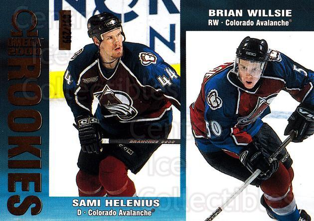 1999-00 Omega Gold #69 Sami Helenius, Brian Willsie<br/>1 In Stock - $3.00 each - <a href=https://centericecollectibles.foxycart.com/cart?name=1999-00%20Omega%20Gold%20%2369%20Sami%20Helenius,%20...&quantity_max=1&price=$3.00&code=401395 class=foxycart> Buy it now! </a>