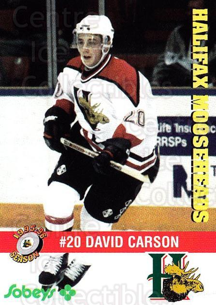 1995-96 Halifax Mooseheads #14 David Carson<br/>5 In Stock - $3.00 each - <a href=https://centericecollectibles.foxycart.com/cart?name=1995-96%20Halifax%20Mooseheads%20%2314%20David%20Carson...&quantity_max=5&price=$3.00&code=40184 class=foxycart> Buy it now! </a>