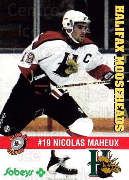 1995-96 Halifax Mooseheads #21 Nicolas Maheux<br/>5 In Stock - $3.00 each - <a href=https://centericecollectibles.foxycart.com/cart?name=1995-96%20Halifax%20Mooseheads%20%2321%20Nicolas%20Maheux...&quantity_max=5&price=$3.00&code=40192 class=foxycart> Buy it now! </a>
