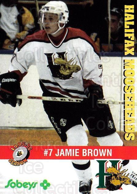 1995-96 Halifax Mooseheads #4 Jamie Brown<br/>2 In Stock - $3.00 each - <a href=https://centericecollectibles.foxycart.com/cart?name=1995-96%20Halifax%20Mooseheads%20%234%20Jamie%20Brown...&quantity_max=2&price=$3.00&code=40197 class=foxycart> Buy it now! </a>
