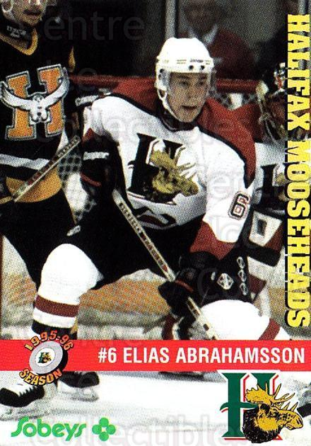 1995-96 Halifax Mooseheads #5 Elias Abrahamsson<br/>3 In Stock - $3.00 each - <a href=https://centericecollectibles.foxycart.com/cart?name=1995-96%20Halifax%20Mooseheads%20%235%20Elias%20Abrahamss...&quantity_max=3&price=$3.00&code=40198 class=foxycart> Buy it now! </a>