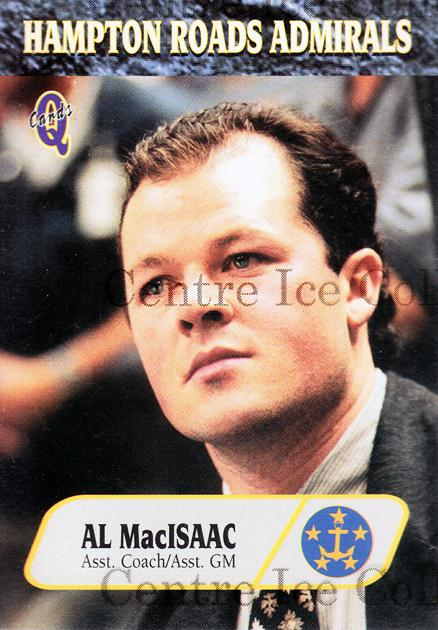 1995-96 Hampton Roads Admirals #3 Al MacIsaac<br/>7 In Stock - $3.00 each - <a href=https://centericecollectibles.foxycart.com/cart?name=1995-96%20Hampton%20Roads%20Admirals%20%233%20Al%20MacIsaac...&quantity_max=7&price=$3.00&code=40219 class=foxycart> Buy it now! </a>