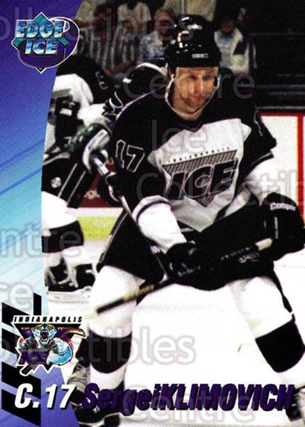 1995-96 Indianapolis Ice #10 Sergei Klimovich<br/>11 In Stock - $3.00 each - <a href=https://centericecollectibles.foxycart.com/cart?name=1995-96%20Indianapolis%20Ice%20%2310%20Sergei%20Klimovic...&quantity_max=11&price=$3.00&code=40484 class=foxycart> Buy it now! </a>