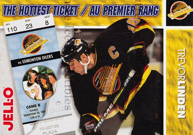 1995-96 Kraft Jell-O Hottest Tickets #10 Trevor Linden<br/>5 In Stock - $3.00 each - <a href=https://centericecollectibles.foxycart.com/cart?name=1995-96%20Kraft%20Jell-O%20Hottest%20Tickets%20%2310%20Trevor%20Linden...&quantity_max=5&price=$3.00&code=40514 class=foxycart> Buy it now! </a>