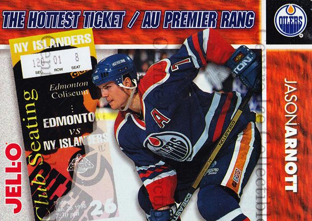 1995-96 Kraft Jell-O Hottest Tickets #1 Jason Arnott<br/>4 In Stock - $3.00 each - <a href=https://centericecollectibles.foxycart.com/cart?name=1995-96%20Kraft%20Jell-O%20Hottest%20Tickets%20%231%20Jason%20Arnott...&quantity_max=4&price=$3.00&code=40519 class=foxycart> Buy it now! </a>