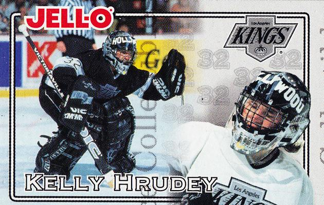 1995-96 Kraft Jell-O #13 Kelly Hrudey<br/>2 In Stock - $2.00 each - <a href=https://centericecollectibles.foxycart.com/cart?name=1995-96%20Kraft%20Jell-O%20%2313%20Kelly%20Hrudey...&quantity_max=2&price=$2.00&code=40530 class=foxycart> Buy it now! </a>