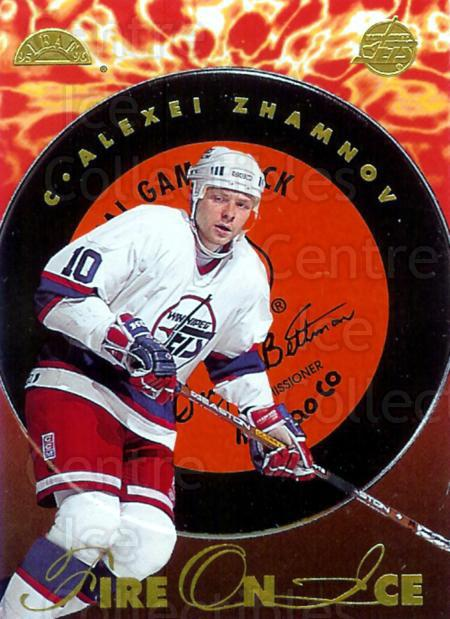 1995-96 Leaf Fire On Ice #3 Alexei Zhamnov<br/>4 In Stock - $5.00 each - <a href=https://centericecollectibles.foxycart.com/cart?name=1995-96%20Leaf%20Fire%20On%20Ice%20%233%20Alexei%20Zhamnov...&price=$5.00&code=40593 class=foxycart> Buy it now! </a>
