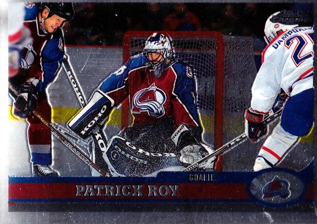 1999-00 Topps Chrome #16 Patrick Roy<br/>1 In Stock - $5.00 each - <a href=https://centericecollectibles.foxycart.com/cart?name=1999-00%20Topps%20Chrome%20%2316%20Patrick%20Roy...&quantity_max=1&price=$5.00&code=406505 class=foxycart> Buy it now! </a>