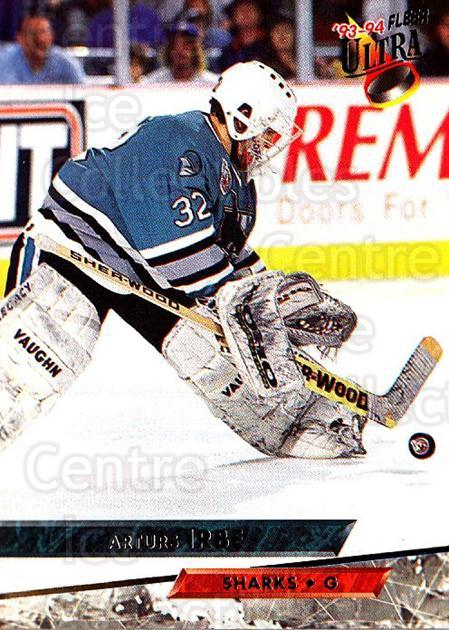 1993-94 Ultra #145 Arturs Irbe<br/>4 In Stock - $1.00 each - <a href=https://centericecollectibles.foxycart.com/cart?name=1993-94%20Ultra%20%23145%20Arturs%20Irbe...&quantity_max=4&price=$1.00&code=4076 class=foxycart> Buy it now! </a>