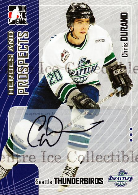 2005-06 ITG Heroes and Prospects Auto #ACDU Chris Durand<br/>2 In Stock - $5.00 each - <a href=https://centericecollectibles.foxycart.com/cart?name=2005-06%20ITG%20Heroes%20and%20Prospects%20Auto%20%23ACDU%20Chris%20Durand...&price=$5.00&code=407946 class=foxycart> Buy it now! </a>