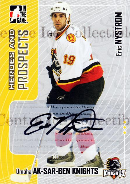 2005-06 ITG Heroes and Prospects Auto #AEN Eric Nystrom<br/>2 In Stock - $5.00 each - <a href=https://centericecollectibles.foxycart.com/cart?name=2005-06%20ITG%20Heroes%20and%20Prospects%20Auto%20%23AEN%20Eric%20Nystrom...&quantity_max=2&price=$5.00&code=407976 class=foxycart> Buy it now! </a>