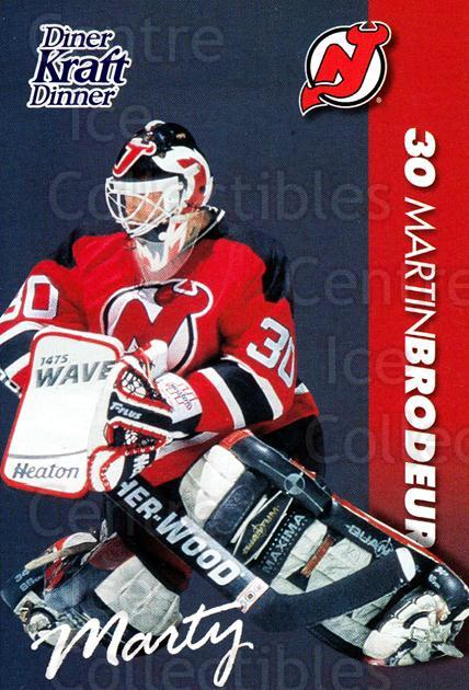 1994-95 Kraft Dinner Masked Defenders #5 Martin Brodeur<br/>1 In Stock - $3.00 each - <a href=https://centericecollectibles.foxycart.com/cart?name=1994-95%20Kraft%20Dinner%20Masked%20Defenders%20%235%20Martin%20Brodeur...&price=$3.00&code=408326 class=foxycart> Buy it now! </a>