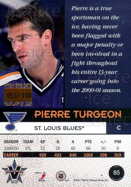 2000-01 Vanguard Premiere Date #85 Pierre Turgeon<br/>1 In Stock - $5.00 each - <a href=https://centericecollectibles.foxycart.com/cart?name=2000-01%20Vanguard%20Premiere%20Date%20%2385%20Pierre%20Turgeon...&quantity_max=1&price=$5.00&code=409312 class=foxycart> Buy it now! </a>