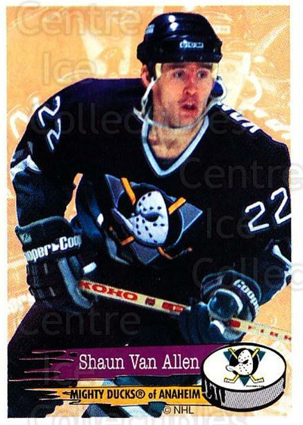 1995-96 Panini Stickers #223 Shaun Van Allen<br/>6 In Stock - $1.00 each - <a href=https://centericecollectibles.foxycart.com/cart?name=1995-96%20Panini%20Stickers%20%23223%20Shaun%20Van%20Allen...&quantity_max=6&price=$1.00&code=41345 class=foxycart> Buy it now! </a>