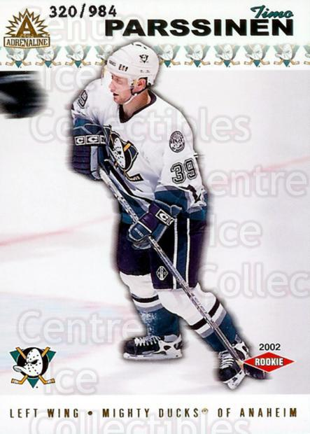 2001-02 Adrenaline #202 Timo Parssinen<br/>2 In Stock - $3.00 each - <a href=https://centericecollectibles.foxycart.com/cart?name=2001-02%20Adrenaline%20%23202%20Timo%20Parssinen...&quantity_max=2&price=$3.00&code=422296 class=foxycart> Buy it now! </a>