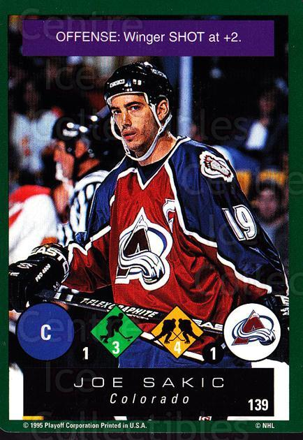 1995-96 Playoff One on One #139 Joe Sakic<br/>6 In Stock - $1.00 each - <a href=https://centericecollectibles.foxycart.com/cart?name=1995-96%20Playoff%20One%20on%20One%20%23139%20Joe%20Sakic...&price=$1.00&code=42332 class=foxycart> Buy it now! </a>