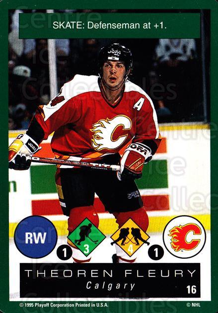 1995-96 Playoff One on One #16 Theo Fleury<br/>7 In Stock - $1.00 each - <a href=https://centericecollectibles.foxycart.com/cart?name=1995-96%20Playoff%20One%20on%20One%20%2316%20Theo%20Fleury...&quantity_max=7&price=$1.00&code=42355 class=foxycart> Buy it now! </a>