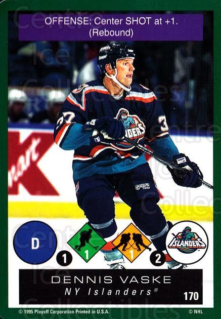 1995-96 Playoff One on One #170 Dennis Vaske<br/>7 In Stock - $1.00 each - <a href=https://centericecollectibles.foxycart.com/cart?name=1995-96%20Playoff%20One%20on%20One%20%23170%20Dennis%20Vaske...&quantity_max=7&price=$1.00&code=42367 class=foxycart> Buy it now! </a>